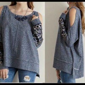 Entro Cold Shoulder Sequin Sweater
